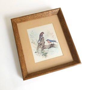 Vintage Bird Print in Wood Frame